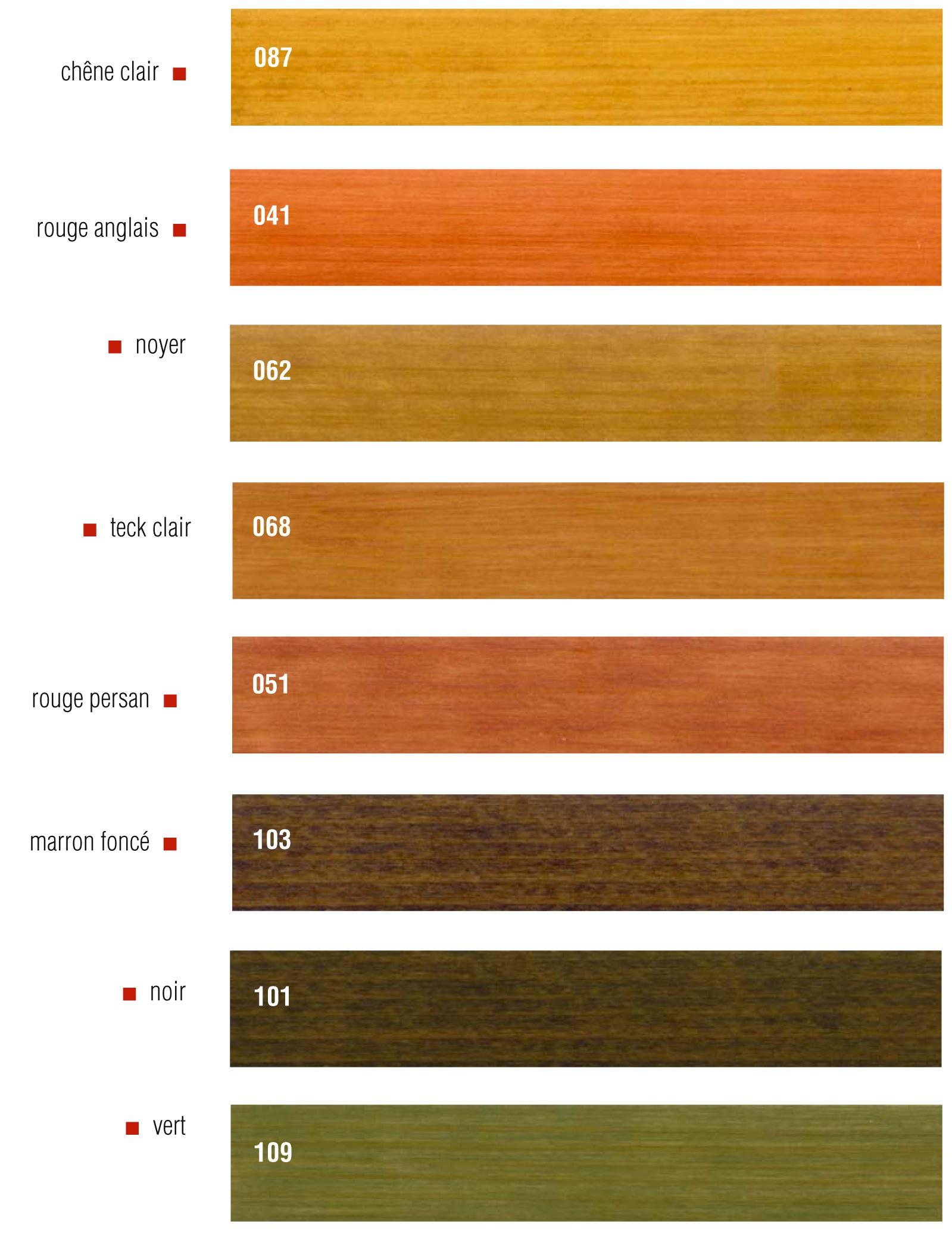 Détaillant huiles Livos - charte couleur